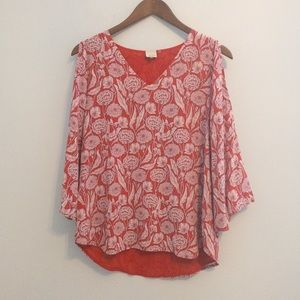 Ecru Silk Cold Shoulder Floral Top